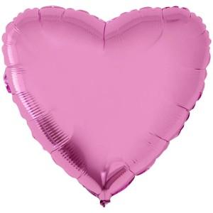 Фольгированный шар 18' (45см) Сердце Металлик Розовый (Flexmetal)