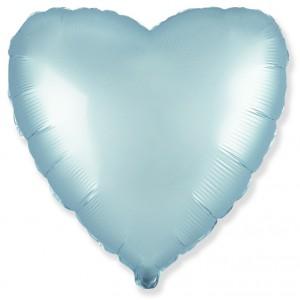 Фольгированный шар 18' (45см) Сердце Cатин Голубой (Flexmetal)