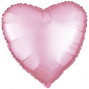 Фольгированный шар 18' (45см) Сердце Cатин Розовый (Flexmetal)
