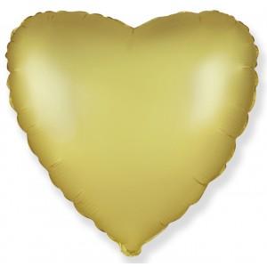 Фольгированный шар 18' (45см) Сердце Cатин Золото (Flexmetal)