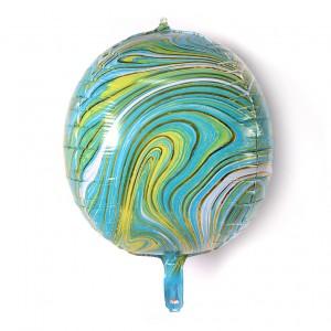 """Фольгированный шар 22"""" (55 см) Сфера Агат Зелёный (Китай)"""