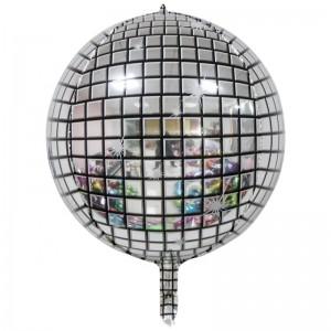 """Фольгированный шар 22"""" (55 см) Сфера Диско-шар (принт) (Китай)"""