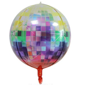 """Фольгированный шар 22"""" (55 см) Сфера Диско-шар разноцвет. (принт) (Китай)"""