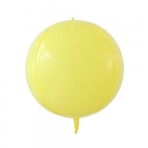 """Фольгированный шар 22"""" (55 см) Сфера Жёлтый макарун (Китай)"""