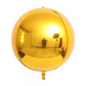 """Фольгированный шар 22"""" (55 см) Сфера Золото (Китай)"""