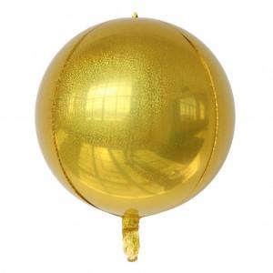 """Фольгированный шар 22"""" (55 см) Сфера Золото Голограмма (Китай)"""