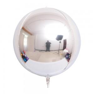 """Фольгированный шар 32"""" (80 см) Сфера Серебро (Китай)"""