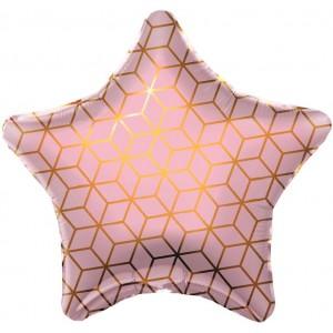 Фольгированный шар 18' (45см) Звезда Геометрия (Agura)
