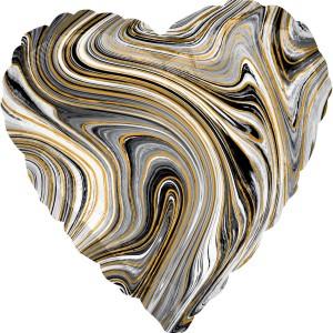 Фольгированный шар 18' (45см) Cердце Чёрный агат Black marble (Anagram)