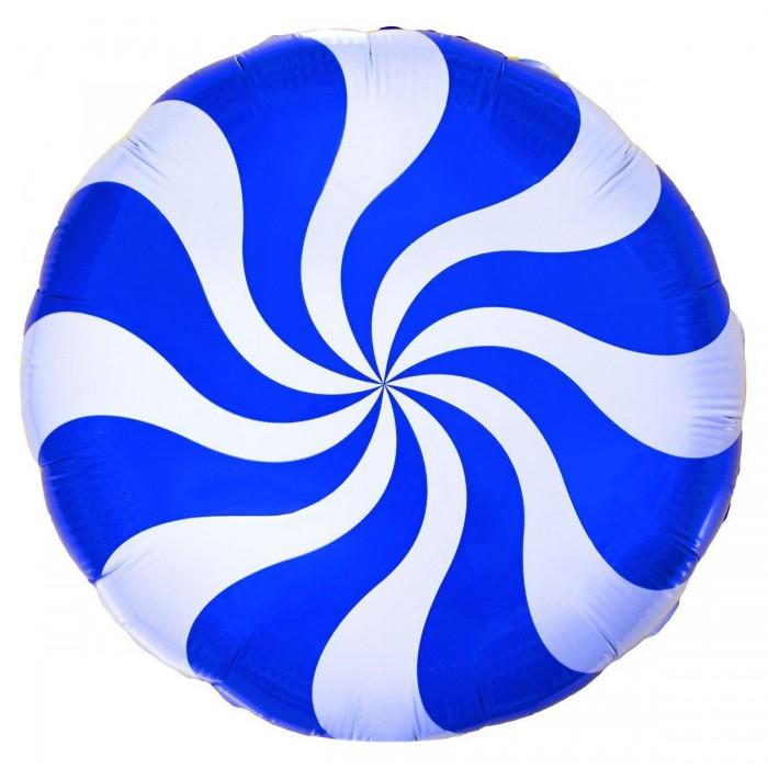 Фольгированный шар 18' (45см) Круг Леденец Синий (Flexmetal)