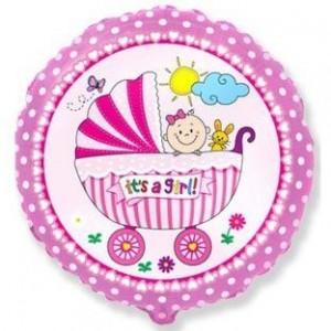Фольгированный шар 18' (45см) Круг Розовая коляска (Flexmetal)