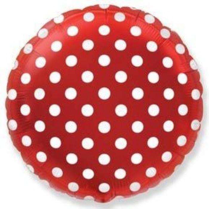 Фольгированный шар 18' (45см) Круг Красный в горошек (Flexmetal)