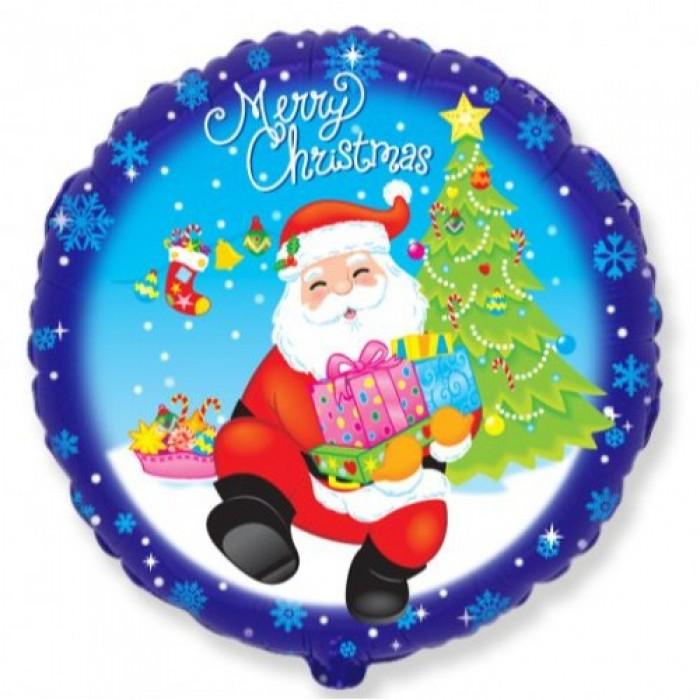 Фольгированный шар 18' (45см) Круг Дед мороз с подарками (Flexmetal)