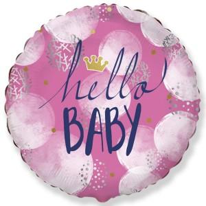 Фольгированный шар 18' (45см) Круг «Привет, малыш» девочка (Flexmetal)
