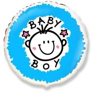 Фольгированный шар 18' (45см) Круг «Baby boy» (Flexmetal)