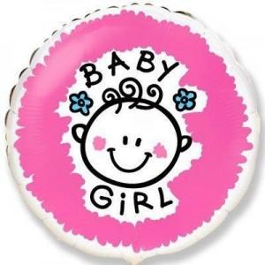 Фольгированный шар 18' (45см) Круг «Baby girl» (Flexmetal)