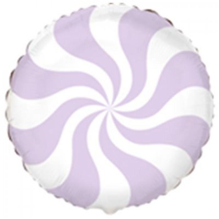 Фольгированный шар 18' (45см) Круг Конфета пастель лиловая lilac (Flexmetal)