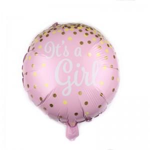 """Фольгированный шар 18' (45см) Круг Розовый """"It's a girl"""" (Китай)"""
