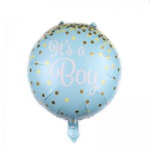 """Фольгированный шар 18' (45см) Круг Голубой """"It's a boy"""" (Китай)"""