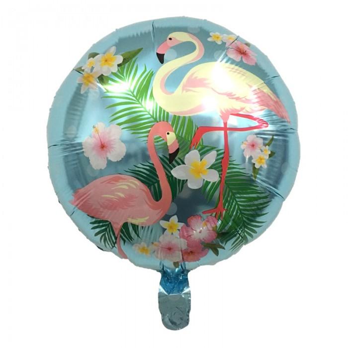 Фольгированный шар 18' (45см) Круг Два фламинго на голубом фоне (Китай)
