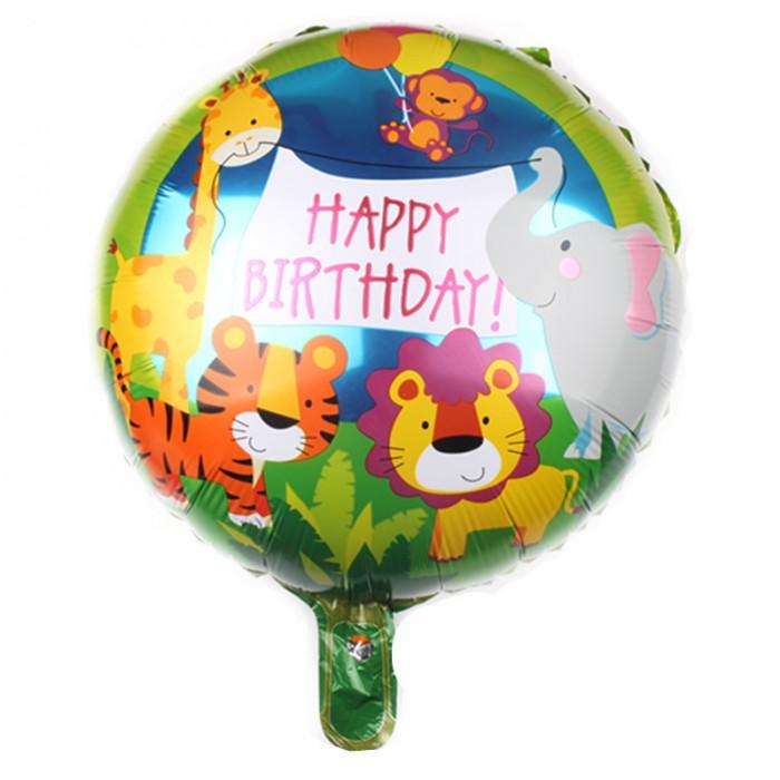 """Фольгированный шар 18' (45см) Круг """"Happy Birthday"""" звери на зелёном фоне (Китай)"""