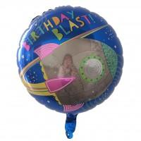 """Фольгированный шар 18' (45см) Круг """"Birthday Blast!"""" ракета в космосе (Китай)"""