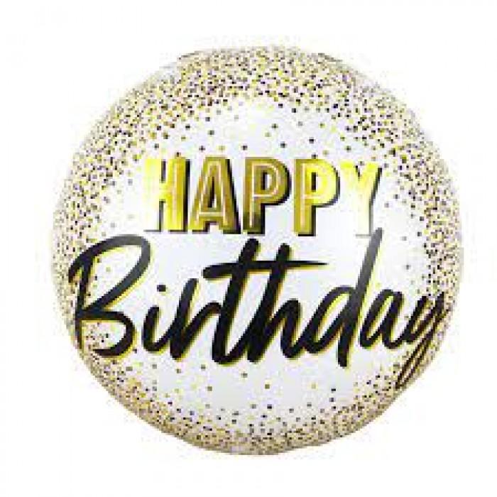 """Фольгированный шар 18' (45см) Круг Белый """"Happy Birthday"""" с золотым конфетти (Китай)"""