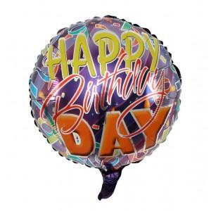 """Фольгированный шар 18' (45см) Круг """"Happy Birthday"""" Disko (Китай)"""