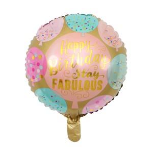 "Фольгированный шар 18' (45см) Круг ""Happy Birthday - stay fabulous"" (Китай)"