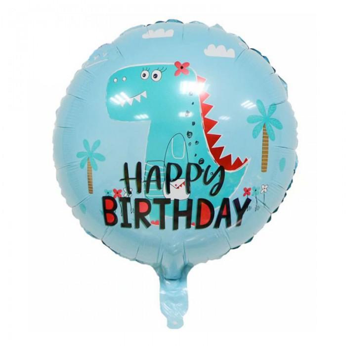 """Фольгированный шар 18' (45см) Круг Голубой """"Happy Birthday"""" Дино (Китай)"""