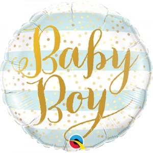 """Фольгированный шар 18' (45см) Круг """"Baby boy"""" голубые полосы, золотой текст (Китай)"""