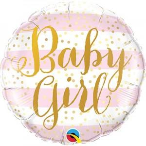 """Фольгированный шар 18' (45см) Круг """"Baby girl"""" розовые полосы, золотой текст (Китай)"""