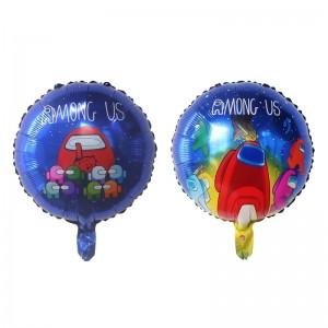 Фольгированный шар 18' (45см) Круг Among Us Амонг Ас на синем (Китай)