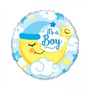 """Фольгированный шар 18' (45см) Круг Голубой """"It's a boy"""" полумесяц (Китай)"""