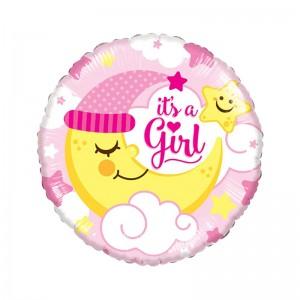"""Фольгированный шар 18' (45см) Круг Розовый """"It's a girl"""" полумесяц (Китай)"""