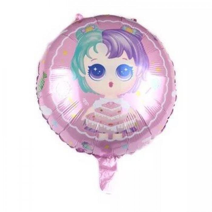 Фольгированный шар 18' (45см) Круг LOL ЛОЛ с тортом (Китай)