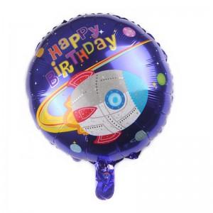 """Фольгированный шар 18' (45см) Круг """"Birthday Birthday"""" ракета и планеты (Китай)"""