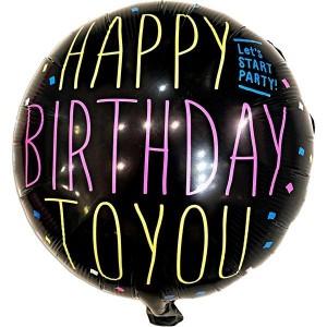 """Фольгированный шар 18' (45см) Круг """"Happy Birthday to you"""" на черном фоне (Китай)"""