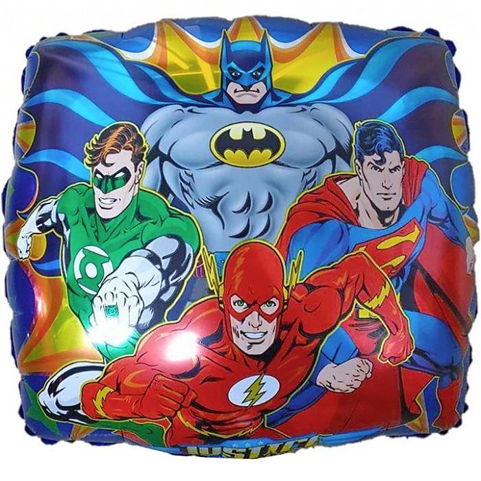 Фольгированный шар 18' (45см) Квадрат с супергероями DC (Китай)