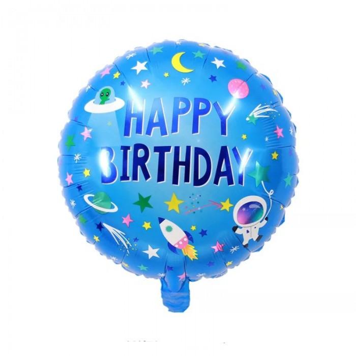 """Фольгированный шар 18' (45см) Круг """"Happy Birthday"""" космос на голубом фоне (Китай)"""