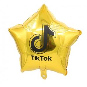 Фольгированный шар 18' (45см) Звезда Золото TikTok ТикТок (Китай)