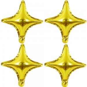 """Фольгированный шар 10"""" (25 см) Звезда 4х-конечная Золото (Китай)"""