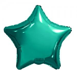 Фольгированный шар 18' (45см) Звезда Бирюзовый (Agura)