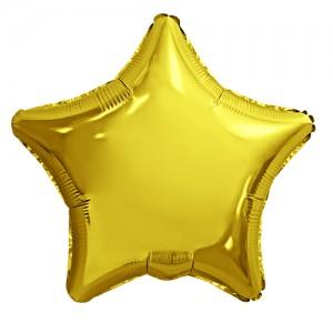 Фольгированный шар 18' (45см) Звезда Золото (Agura)