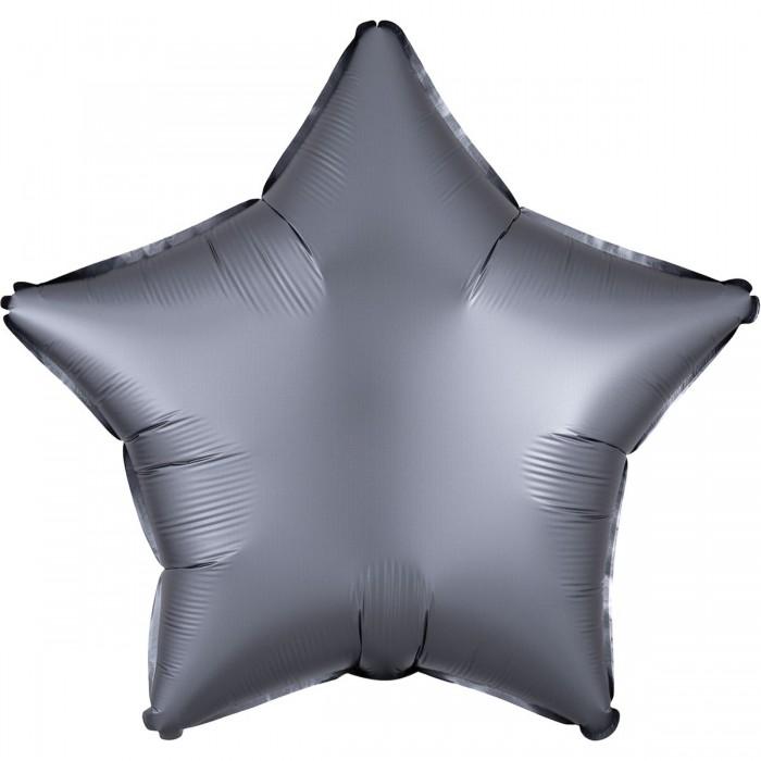 Фольгированный шар 18' (45см) Звезда Сатин Графит (Anagram)