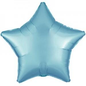 Фольгированный шар 18' (45см) Звезда Cатин Голубой (Flexmetal)