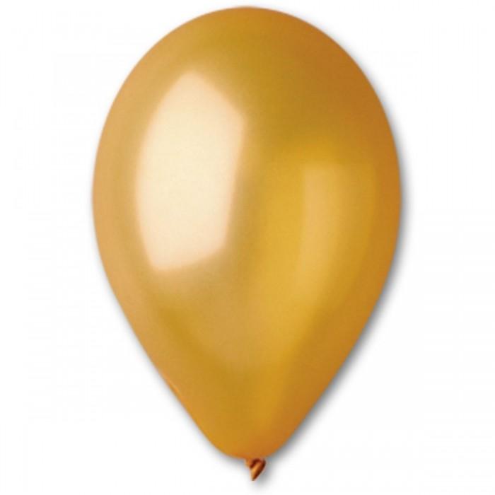 Латексный шар 10″ (25 см.) Металлик Золотой #39 (Gemar) (100 шт.)