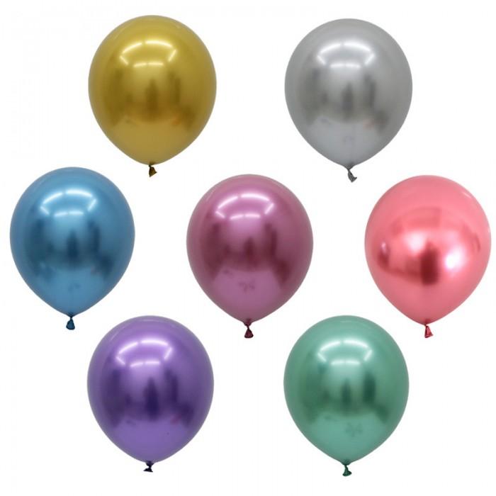 Латексный шар 5″ (13 см.) ХРОМ Ассорти (Китай) (100 шт.)