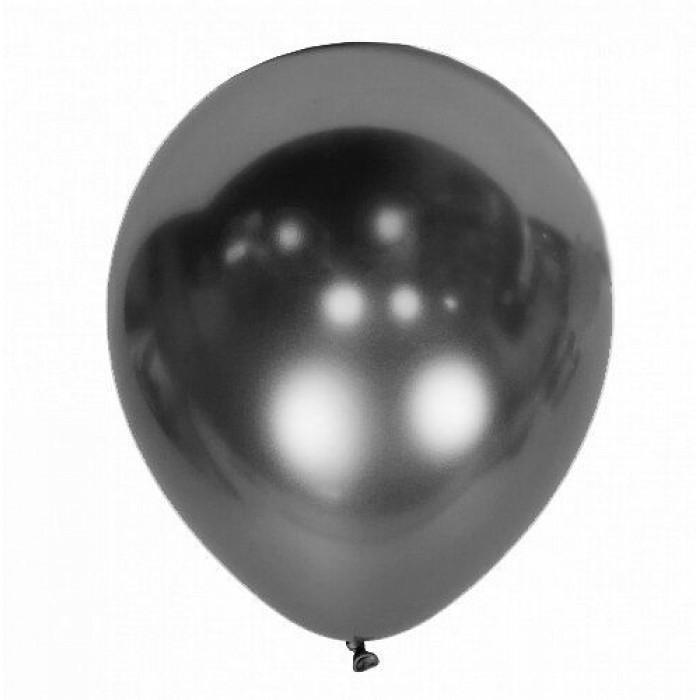 Латексный шар 12″ (30 см.) ХРОМ Серебро Mirror Space Grey (Kalisan) (50 шт.)