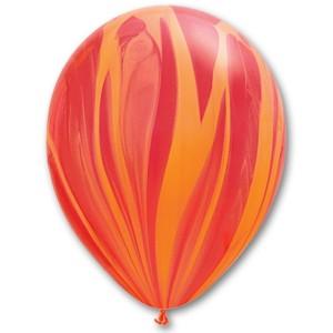 Латексный шар 11″ (28 см.) Супер Агат Красно–Оранжевый (1шт.)